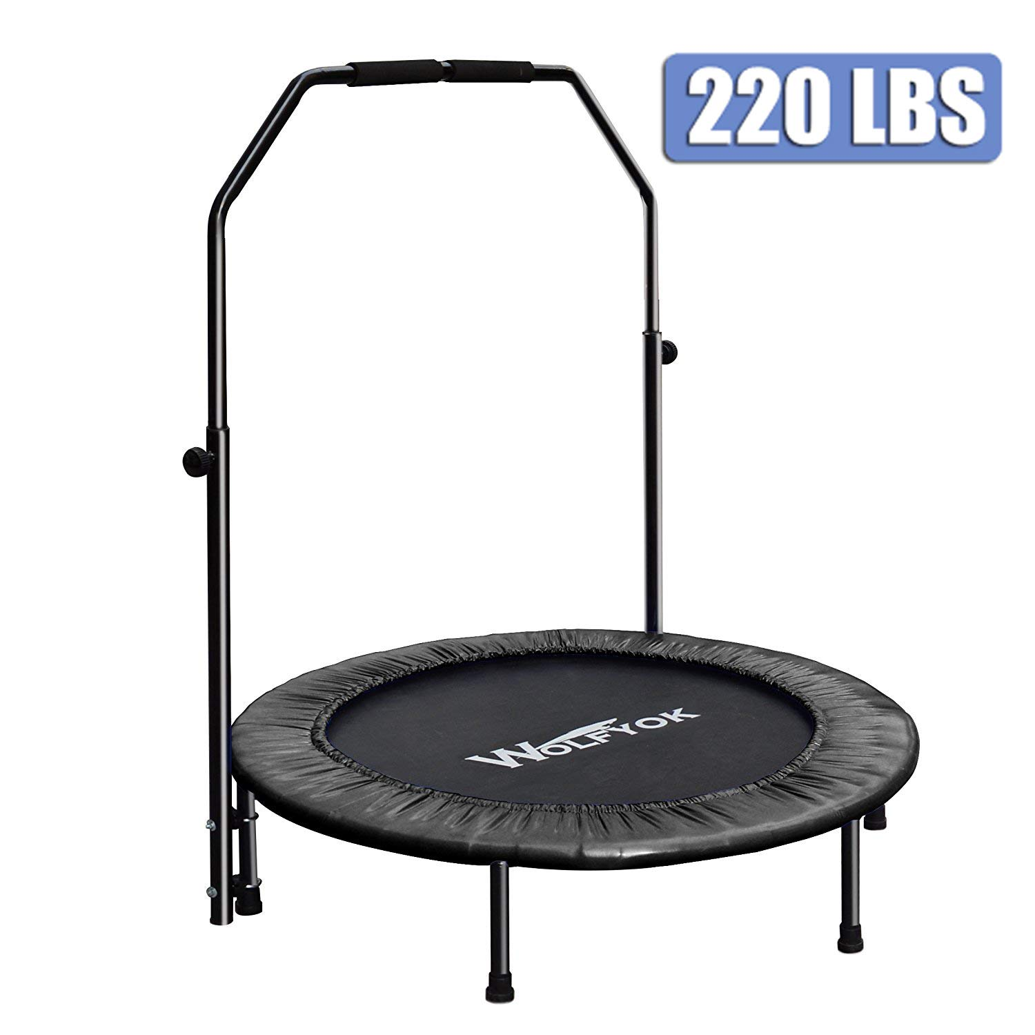 Wolfyok Exercise Trampoline with Safety Pad Adjustable Handle Bar Portable & Foldable Rebounder for Adults Kids Body Fitness Training Workout Max Load 220 lbs Black