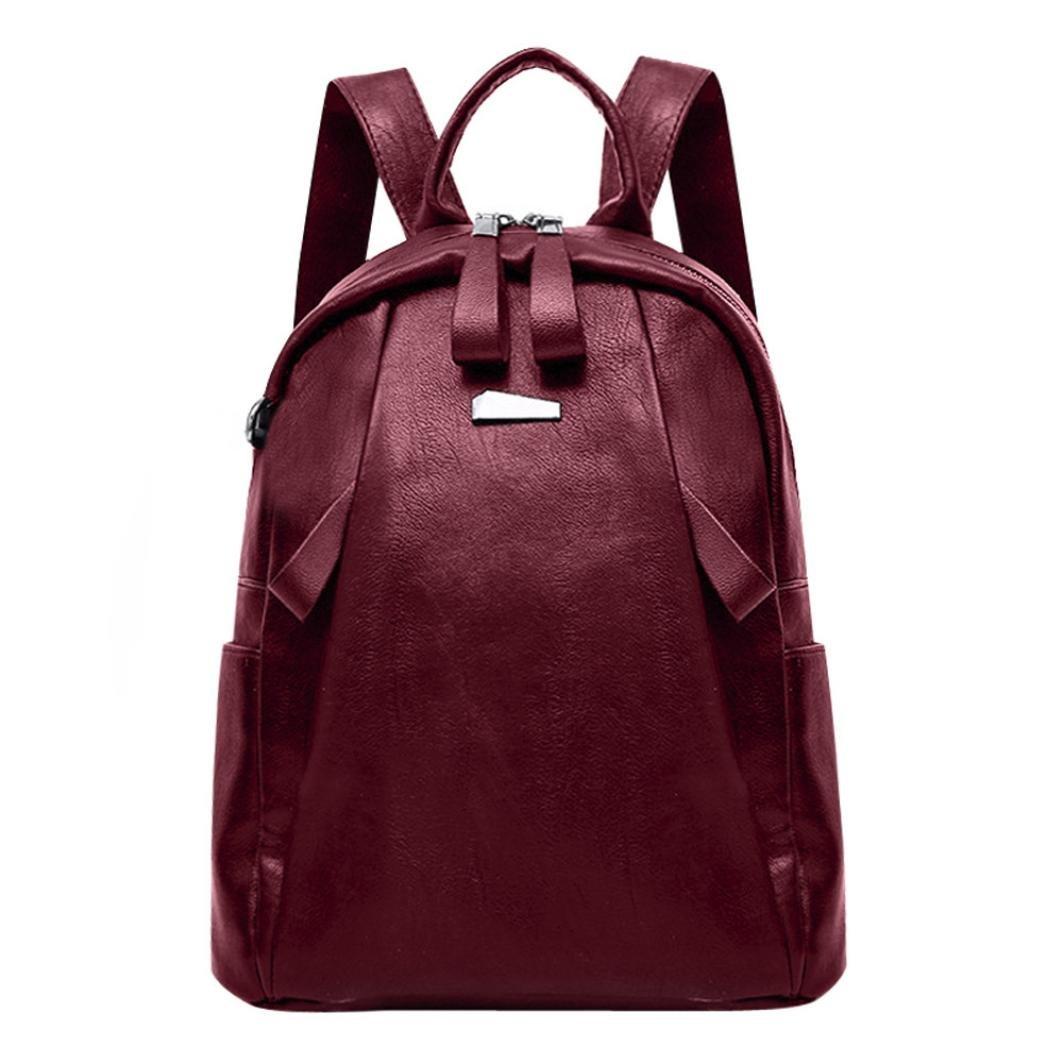 YJYDADA Fashion Women Girl Leather Backpack Travel Rucksack School Bag (Red)