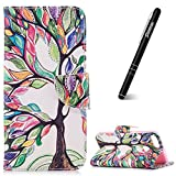 Slynmax Folio Case Compatible with Huawei P Smart Phone Printing Colorful Tree Design Premium Flip Phone Cover Card Holder ID Slot Shockproof Shell for P Smart + 1* Stylus Pen