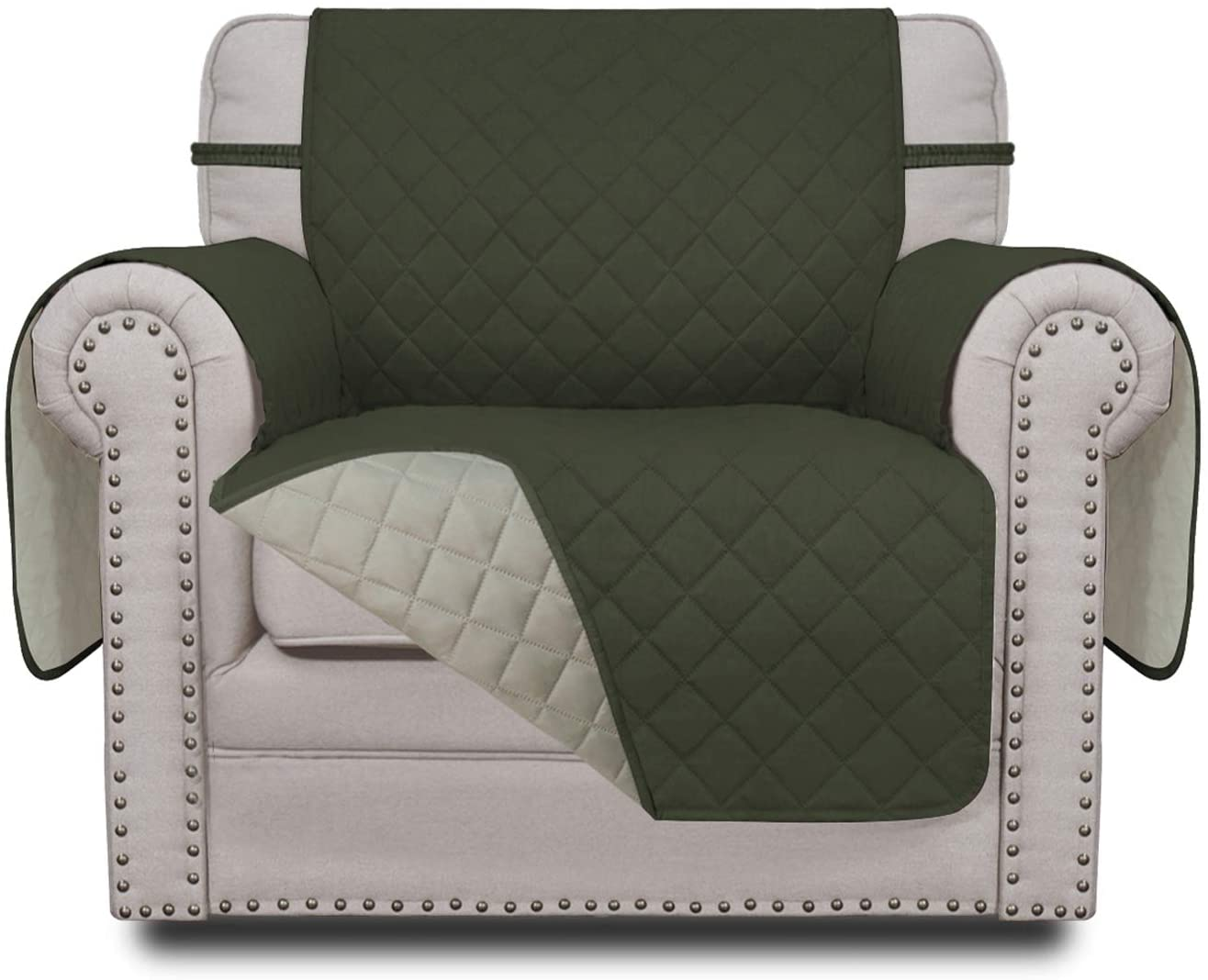 Easy-Going Sofa Slipcover Reversible Chair Cover Water Resistant Couch Cover Furniture Protector with Elastic Straps for Pets Kids Children Dog Cat(Chair,Army Green/Beige)