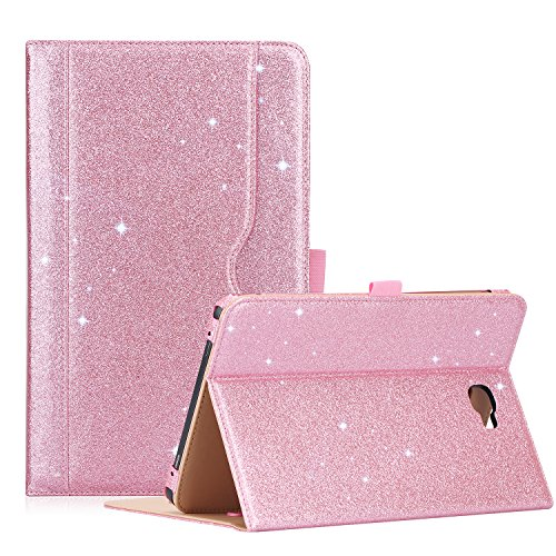 ProCase Samsung Galaxy Tab A 10.1 Case - Stand Folio Case Cover for Galaxy Tab A 10.1 Tablet SM-T580 T585 T587 (NO S Pen Version), with Multiple Viewing Angles, Document Card Pocket -Glitter Pink