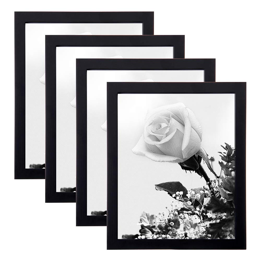 Loveinside 8x10 Frame Black 1.8 mm Thick Real Glass and Solid Wood Frame for Tabletop or Wall Decor Picture Frame, Set of 4 by Loveinside