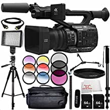 Panasonic AG-UX90 4K/HD Professional Camcorder with Rode NTG2 Battery or Phantom Powered Condenser Shotgun Microphone 14PC Accessory Bundle – Includes 2x 64GB SD Memory Cards + MORE
