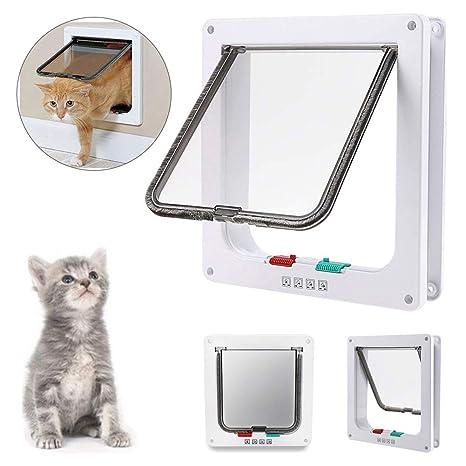 BOENTA Cat Flap 4 Way Locking Safety Puerta para Mascotas para Gatos y Perros pequeños (