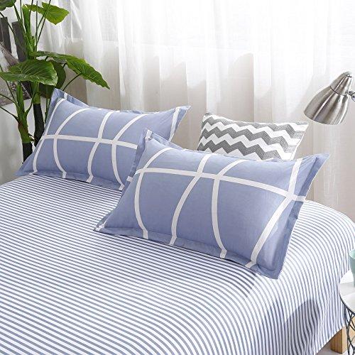 Bedding Children Duvet Cover Set Flat Bed Sheet Pillowcase No Comforter 4pcs SJD Twin Full Queen Full Love Lasting Stripe lattices Designs for Kids Children (Lasting Stripe,Blue, Twin,59''x78'') by Nova (Image #4)