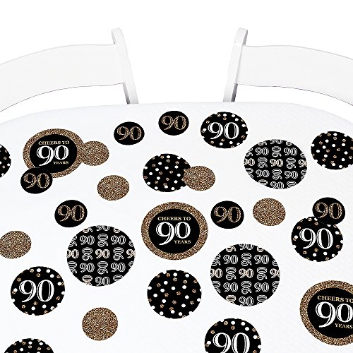 Big Dot of Happiness Adult 90th Birthday - Gold - Birthday Party Giant Circle Confetti - Party Decorations - Large Confetti 27 Count ()