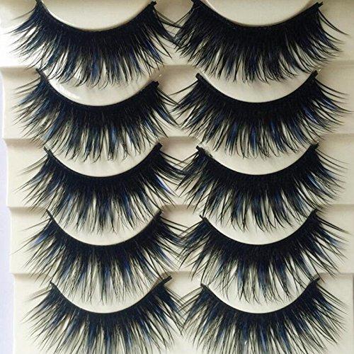 5 Pairs Blue+Black Long Thick Cross False Eyelashes Handmade lashes makeup Cosmetic Tools