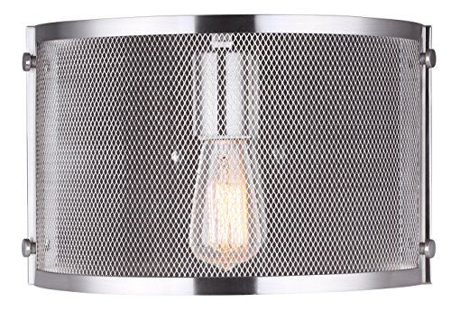 CANARM IWL626A11BN Beckett 1 Light Wall Sconce with Metal Mesh Shade, Brushed Nickel