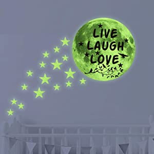 Live Laugh Love Glow in Dark Stars & Moon Ceiling Wall Decals,Kid/Child/Baby Inspirational Room Decor and Party Birthday Gift