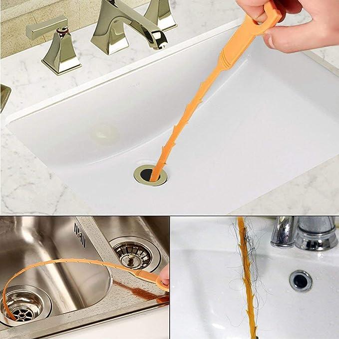 Desatascador QFUN, 5 piezas de plástico para el pelo sink de ...