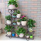 LIZX Iron Art Multi - Storey Flower Stand Balcony Indoor Rust - Proof Flower Pot Rack ( Color : Bronze )