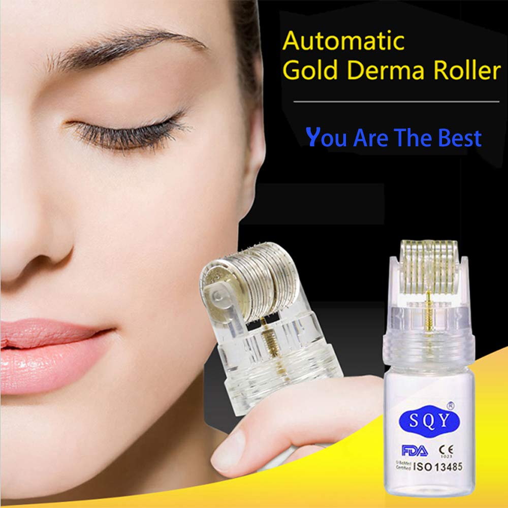 Derma Roller with Glass Bottle for Hyaluronic Acid, 0.25mm Titanium Microneedle Massager Roller for Facial Body Skin Care, More Durable, 10000 Times Rolling By HYTK