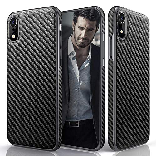 iPhone XR Case, 6.1 inch LOHASIC Carbon Fiber Pattern Slim Luxury PU Leather Soft Flexible Hybrid Anti-Slip Grip Scratch Resistant Protective Cover Cases for Apple iPhone XR (2018) - Carbon - Fiber Carbon Pattern