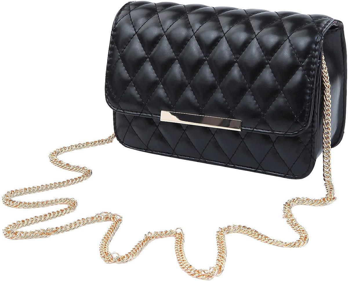 Elegant Smooth PU Leather Quilted Clutch Handbag Crossbody Shoulder Bag - Diff Colors