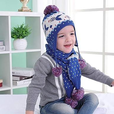 Amazon.com  Kids Winter Earflap Beanie Hat Mittens Scarf 2pcs Set ... 524c8df31b25