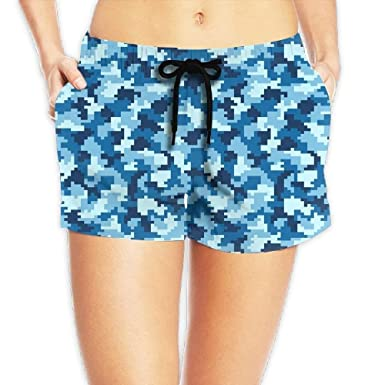 a0e39cf49a vaepinopes Women's Digital Camouflage Blue Boardshorts Beach Shorts Swim  Trunks Brief with Adjustable Ties