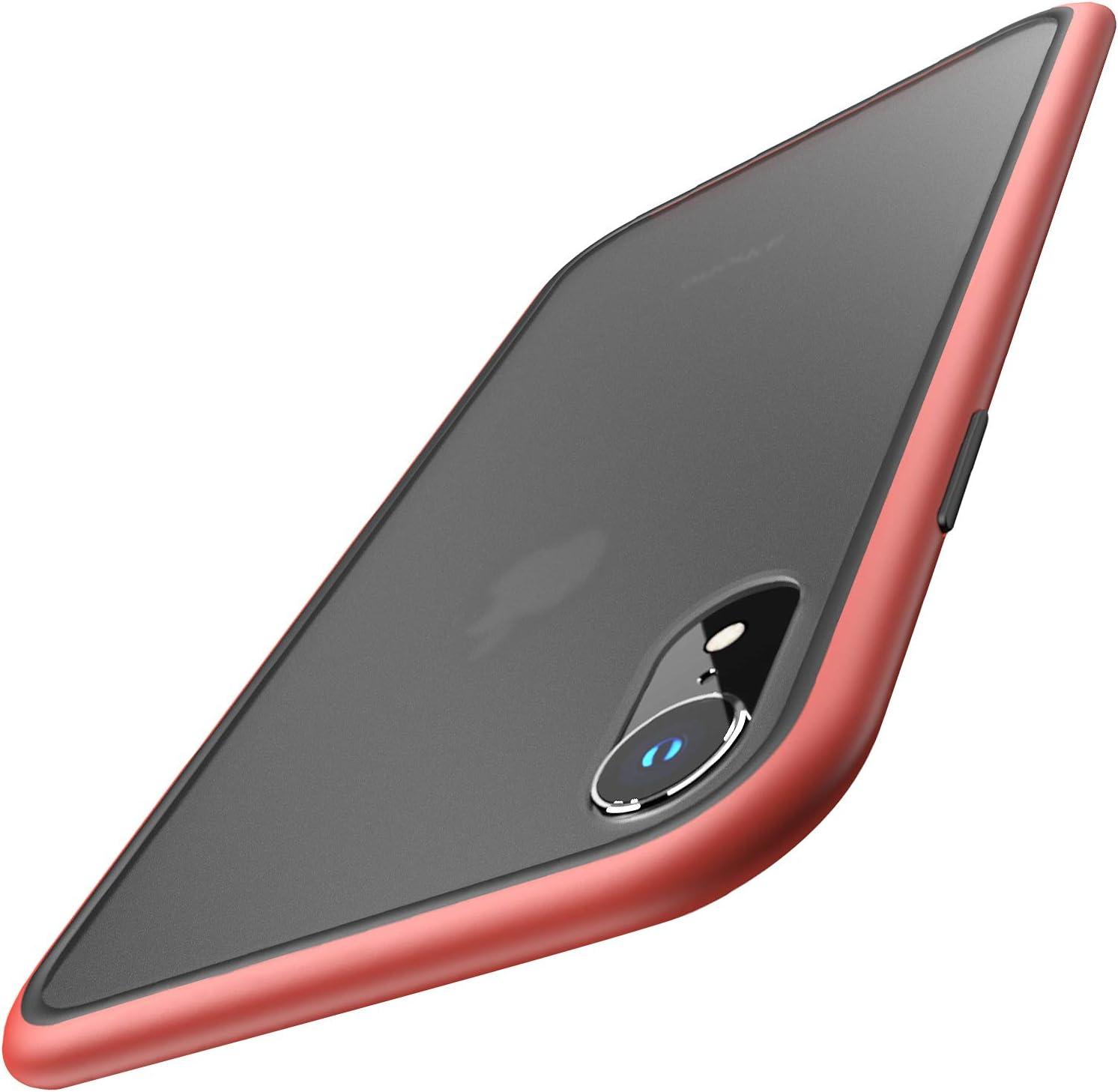 TOZO for iPhone XR Case Phantom Hybrid Soft Grip Matte Finish Frame Matte Back Panel Cover for iPhone XR 6.1 Inch 2018 (Red)