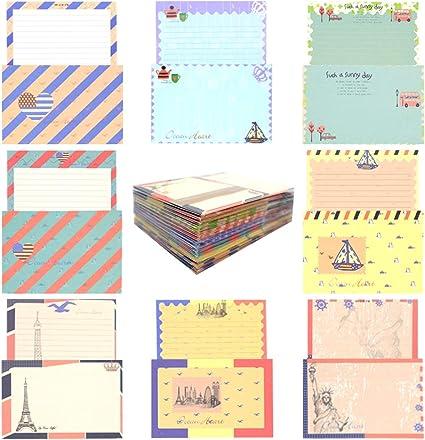 HOSTK 96 Juego de papel de cartas con sobre, 64 lindos y bonitos diseños especiales de papel de carta para escribir + 32 sobres estilo vintage azul marino (8 estilos): Amazon.es: Oficina y papelería