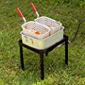 Backyard Pro 18 Qt. Aluminium Freestanding Dual Basket Fryer/Fish Cooker - 55,000 BTU Cast Burner Outdoor Propane Fry Pot +