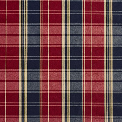 E801 Navy and Red Classic Plaid Jacquard Upholstery Fabric By The Yard