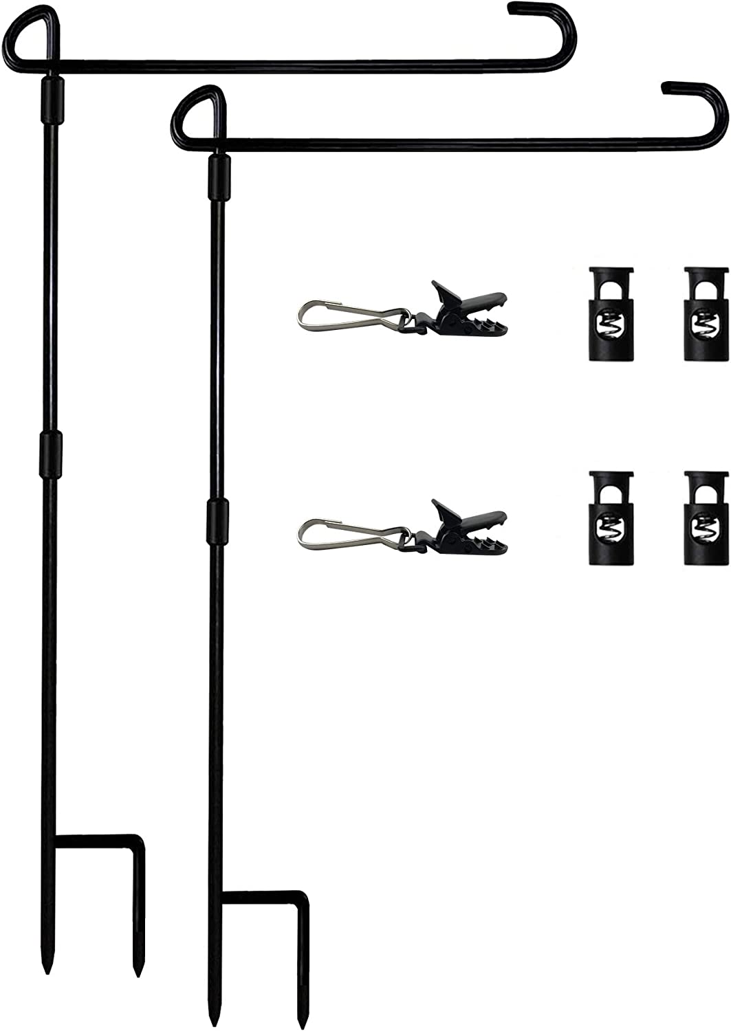 Garden Flag Stand Premium Garden Flag Pole Holder for All Seasons Yard Flags Metal Powder-Coated Weather-Proof Paint with 4 Stoppers and 2 Anti-Wind Clips 2 Pack
