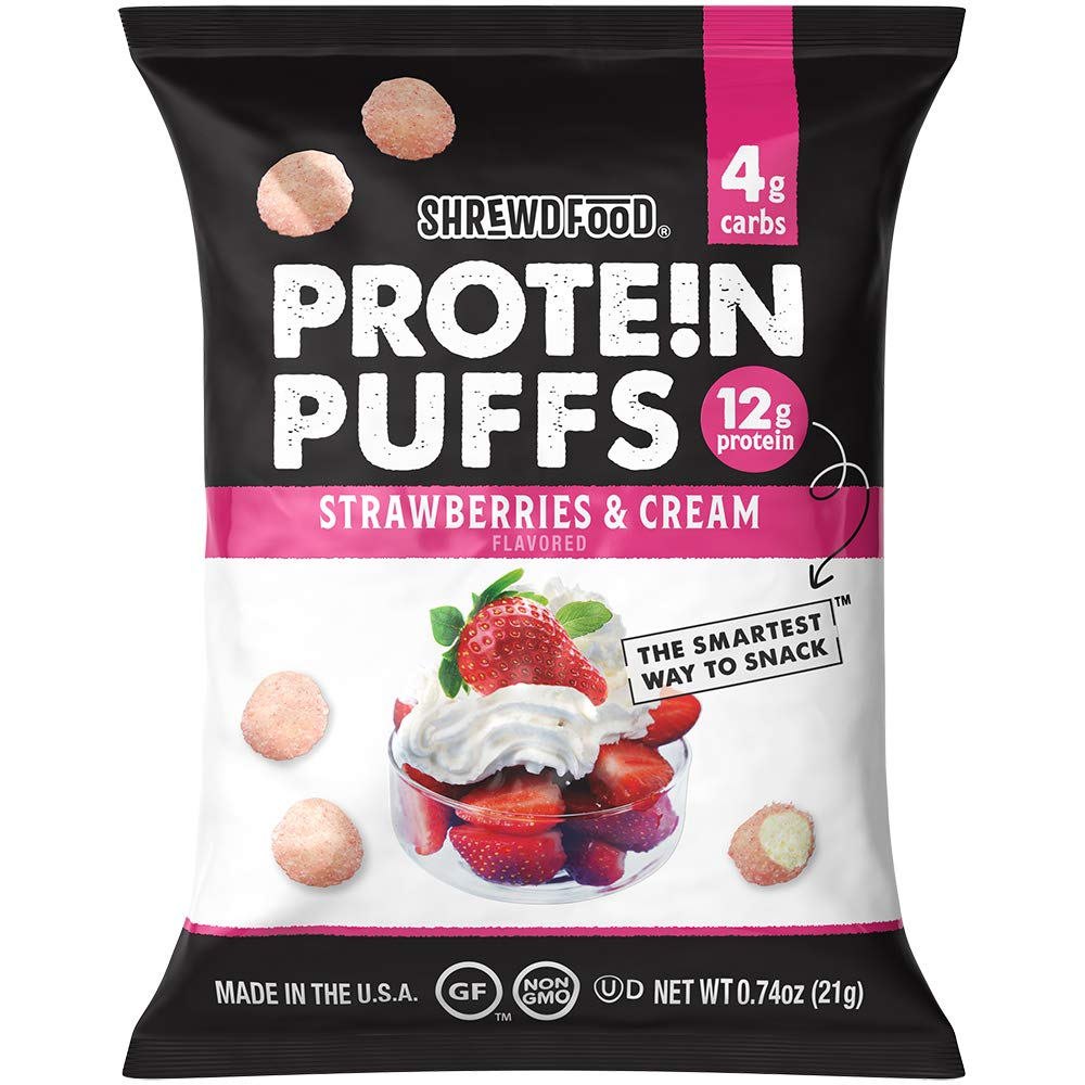 Shrewd Food Protein Puffs, High Protein Crunch, Sweet And Crispy Puffs, Low Carb Cereal Snack, Soy Free, Peanut Free, Gluten Free, 12g Protein Per Pack, 4g Carbs, Strawberries and Cream, 8 Pack