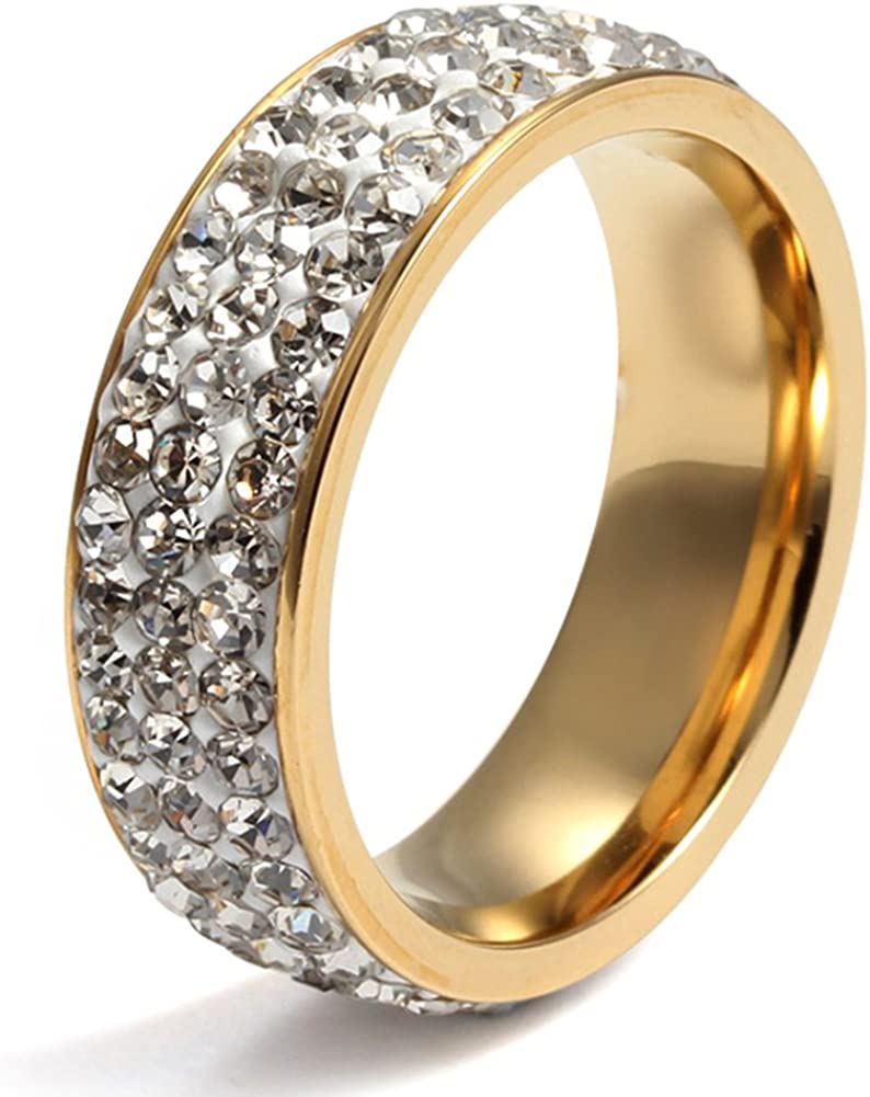Womens Stainless Steel Eternity Ring Cubic Zirconia Crystal Circle Round,Gold Plated,7mm Width