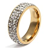 Amazon Price History for:Women Stainless Steel Eternity Ring CZ Cubic Zirconia Crystal Circle Round,Gold,7mm Width