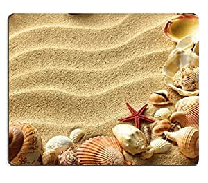 Mouse Pad Natural Rubber Mousepad sea shells with sand as background IMAGE ID 12568387