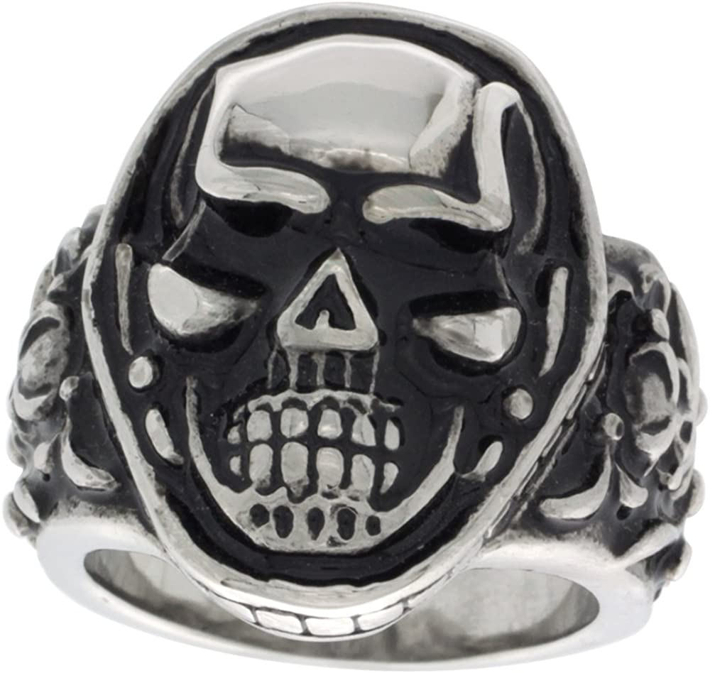 Details about  /Mens Skull Graveyard Ring Stainless Steel Pirate Biker Jewelry Sizes 8-15