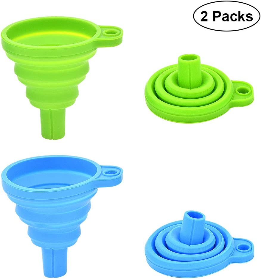 KOPEESY Silicone Collapsible Funnel Set of 2, Flexible Silicone Foldable Kitchen Funnel for Liquid/Powder Transfer, Food Grade Silicone Funnel (Small, Green and Blue)