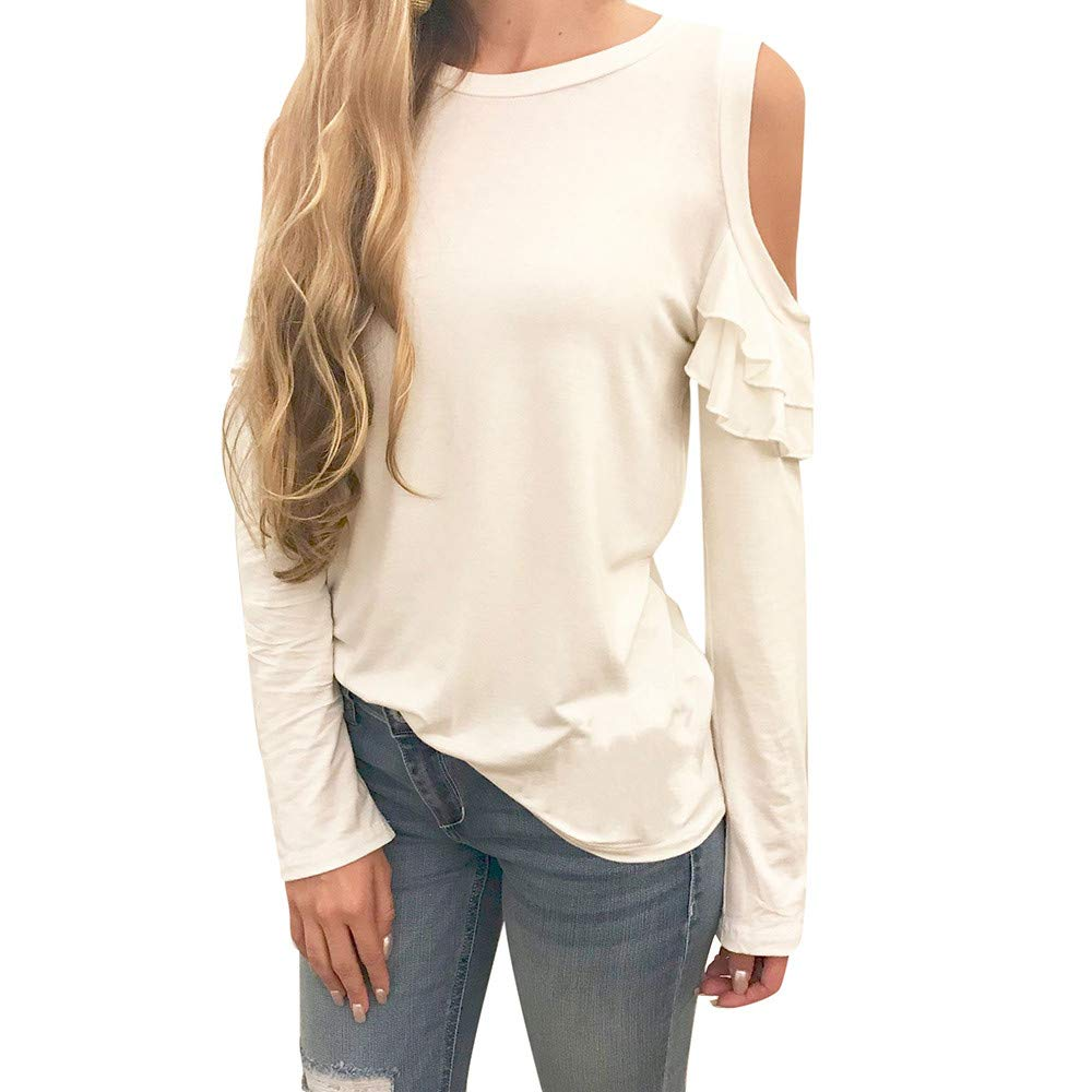 Womens Sweaters Clearance Sale! Women's Long Sleeve Off Shoulder T-Shirt Solid Strapless Loose Blouse Pullover Tops
