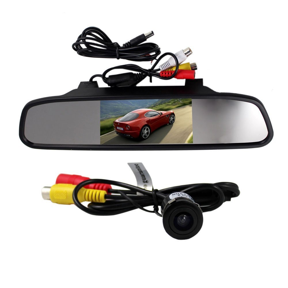 BW 4.3 Inch TFT LCD Rearview Mirror Monitor And Waterproof Car Rear View Camera Wired Wide Viewing 135 Degree