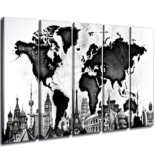 sunfrower Posters World Map Art Wall Decor Huge Wood Framed B&W Black and White Map of World Canvas Prints Paintings Pictures Maps Artwork Ready to Hang Office Home Decorations 5 Panel Total 80 x 40 (World Map Black And White High Resolution)