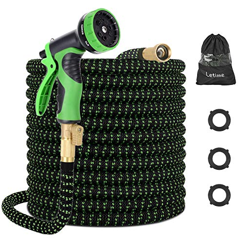 LETIME Expandable Garden Hose 100 Feet, Durable Water Hose with 9-Way Spray Nozzle and 3/4″ Solid Brass Fittings, for Lawn Watering and Car Washing