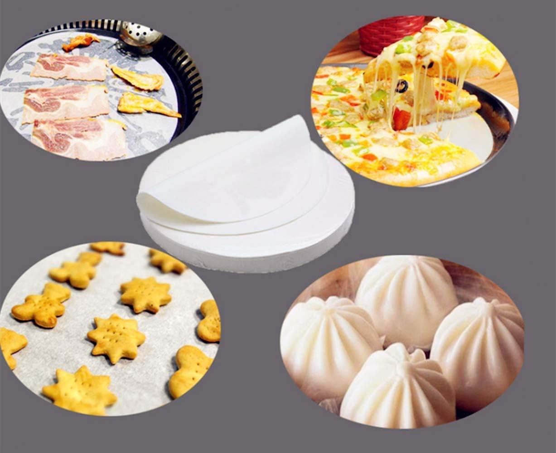 LaVenty Set of 52 BBQ Mat Unbleached Parchment Paper Cookie Baking Sheets Non-Stick Round Parchment Paper 8 Inch Diameter Baking Paper Liners for Round Cake Pans