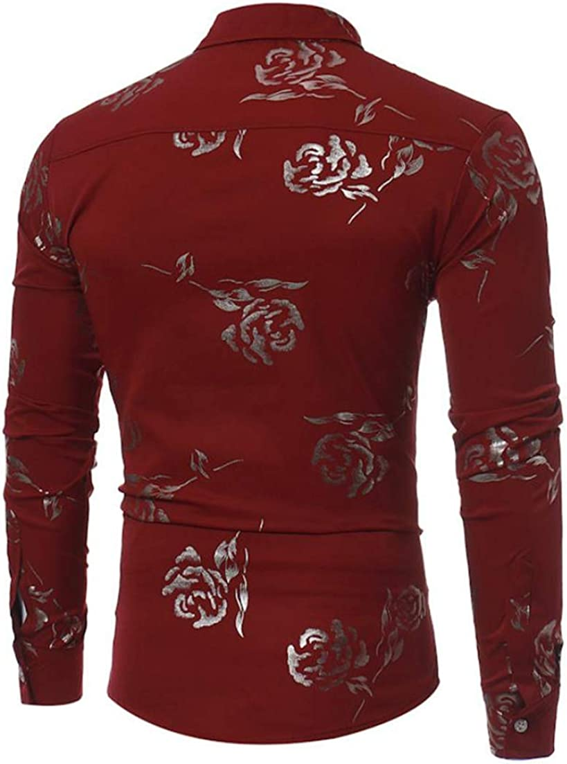 Pandapang Mens Long Sleeve Rose Classic-fit Printing Turn Down Tops Button Down Shirts