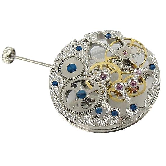 Full de Asia 17 joyas plata esqueleto para hombre reloj 6497 Hand-Winding movimiento
