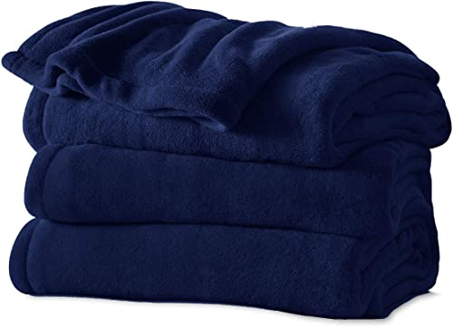 Sunbeam Microplush Electric Heated Warming Throw Blanket Royal Blue Washable Auto Shut Off 3 Heat Setting