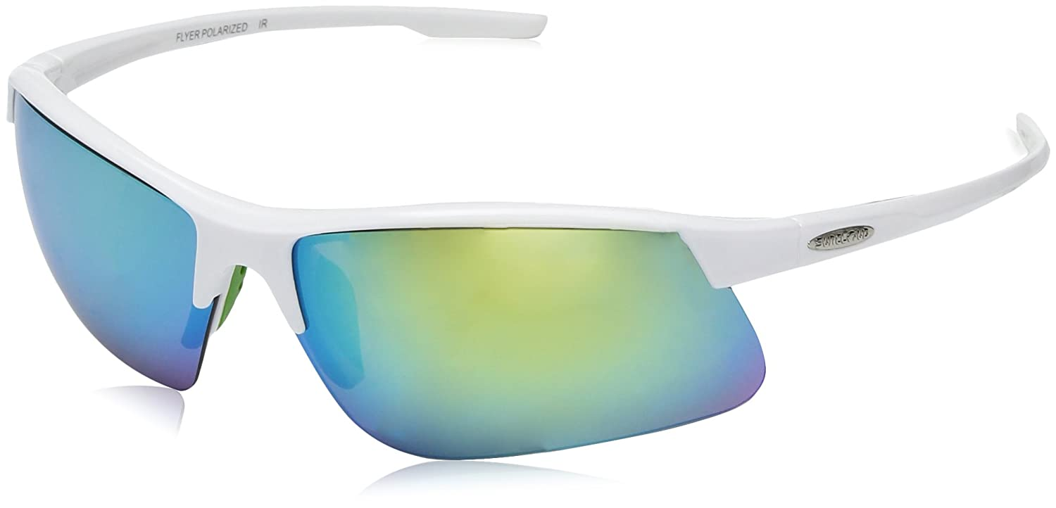 - Suncloud Flyer Sunglasses, White Frame Green Mirror Polycarbonate Lens, One Size