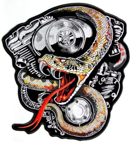 RATTLE SNAKE EMBROIDERED 11 INCH IRON ON MC BIKER  PATCH