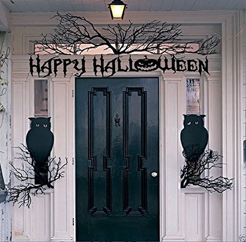 BestPricedDecals Happy Halloween # 2 (Choose, Wording, or with Owls and Branches) Halloween Decal, Wall or Window (Wording + Owls and Branches)