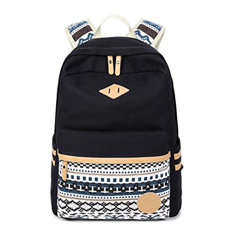 ca87d2d832 Abshoo Canvas Lightweight Student Backpacks for Girls School Bags (Black)   Amazon.co.uk  Luggage
