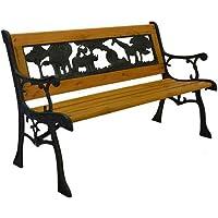 Junior Safari Metal Park Bench - Cast Iron Kids Park Bench for Yard or Garden Product SKU: PB10014