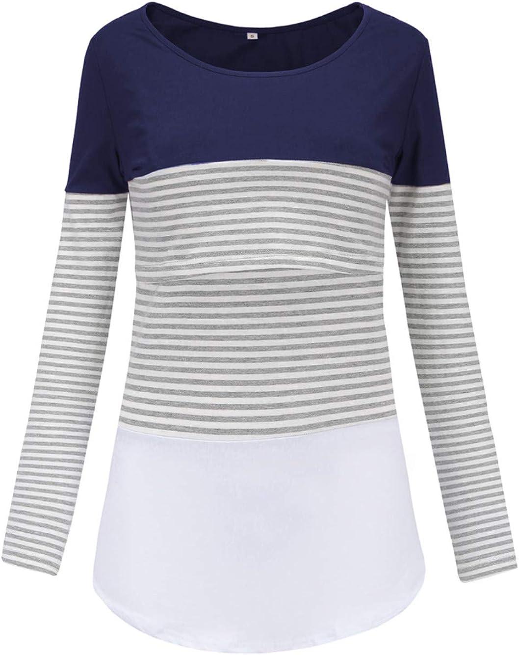 Love2Mi Damen Stillshirt Langarm Schwanger T-Shirt Umstandsshirt Nursing Tops Schwangerschafts Umstandsmode