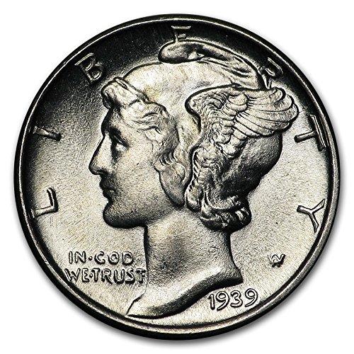1939 Gem Brilliant Uncirculated Silver Mercury Dime Choice - Liberty Quarters Walking