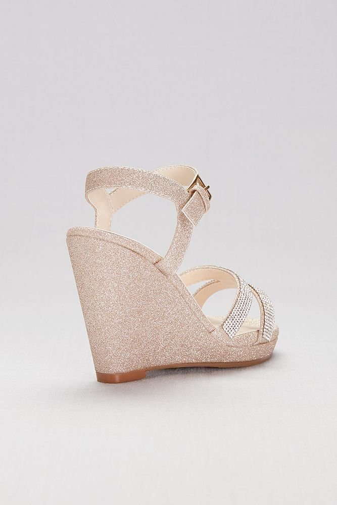 62bea22004d91c ... David s Bridal Glitter Platform Wedges Wedges Wedges with Crystal  Straps Style Amy B079P9YLTC 11 B( ...