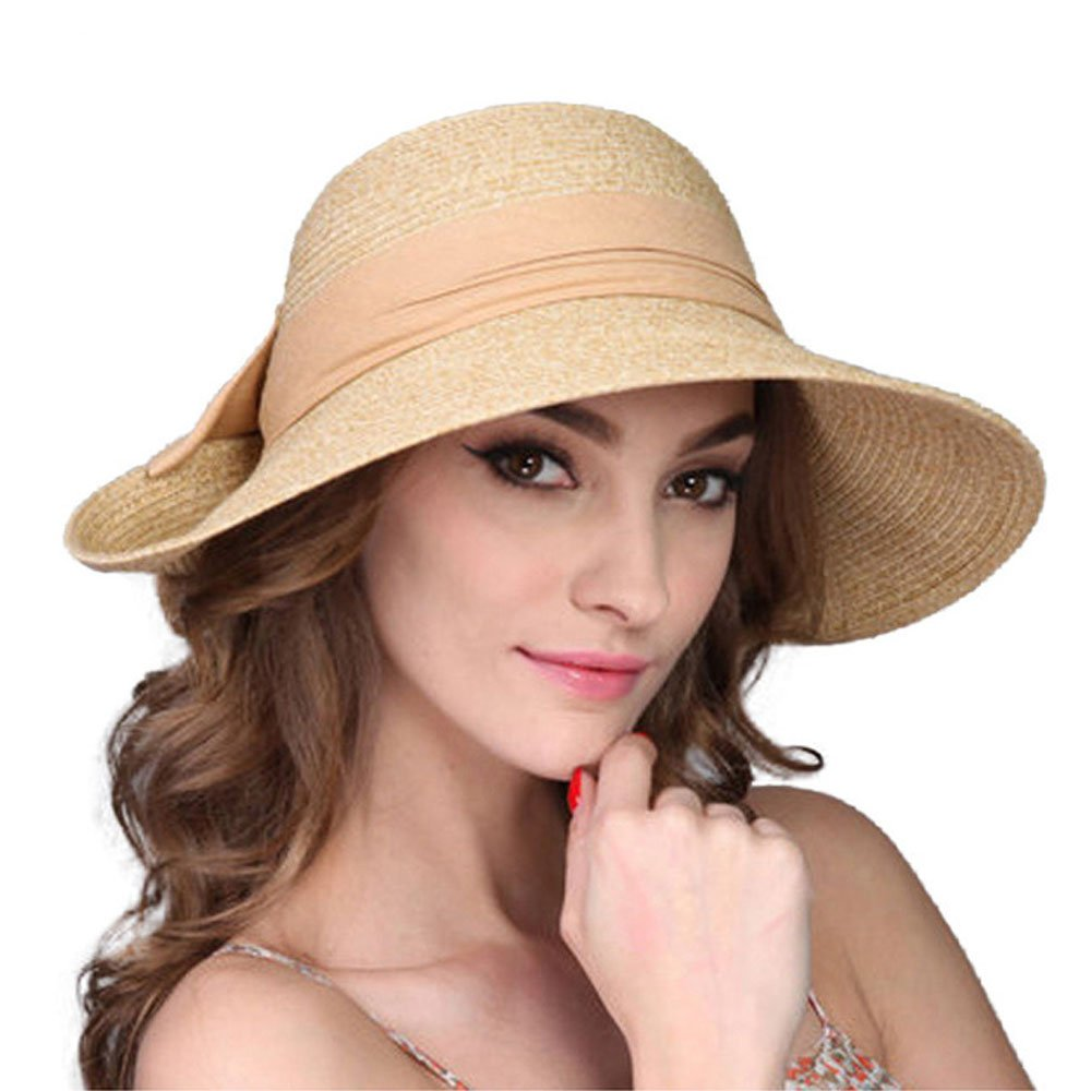 9e35a98e90086 Raffia Straw Hat for Women Summer Beach Wide Brim Floppy Sun Visor Cap at  Amazon Women s Clothing store