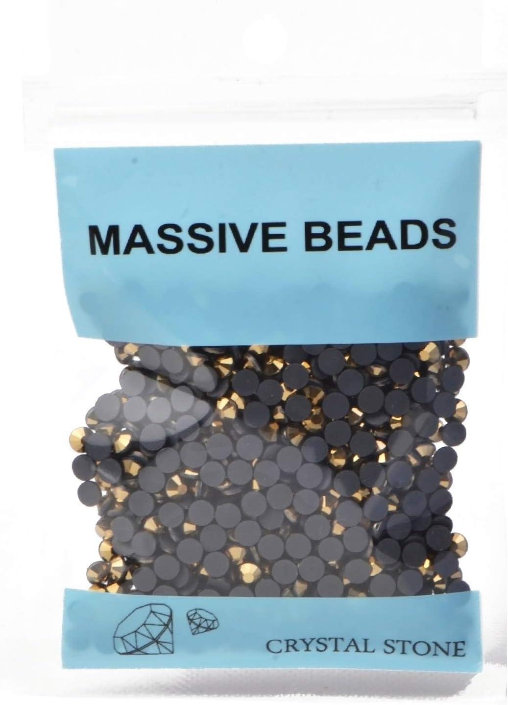 1000 Pieces Hot Fix Glass Flatback Rhinestones HotFix Round Crystal Gems Mine Gold, SS20
