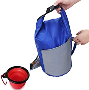 SAYGOGO-Portable Dog Food Carrier with Collapsible Travel Water Bowl,Pet Container,Durable, Dog Kibble Carrier,Dog,Cat Food Storage Bag, Suitable for Dogs and Cats.(9.823.9 Inches.(4.92) Inches